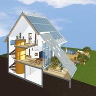 Sonnenhaus 3D-Grafik (Schnittdarstellung)